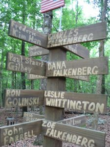 Commemorative post for the Falkenberg-Whittington family