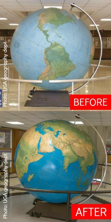Globe restoration before and after