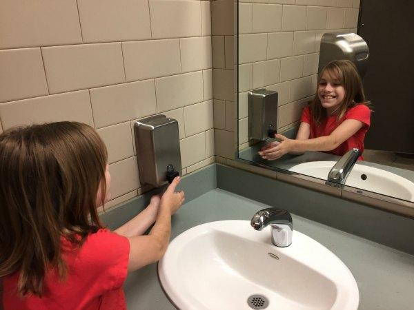 Eliza is responsible for the handicapped accessible soap dispenser at the Athens library.