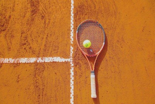 Tennis Raquet Ball and Court
