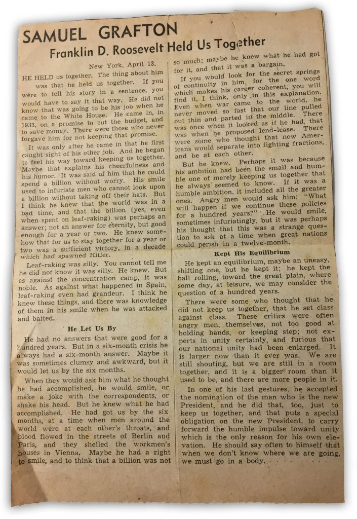 Franklin D Roosevelt Held Us Together bySamuel Grafton Newspaper Clipping