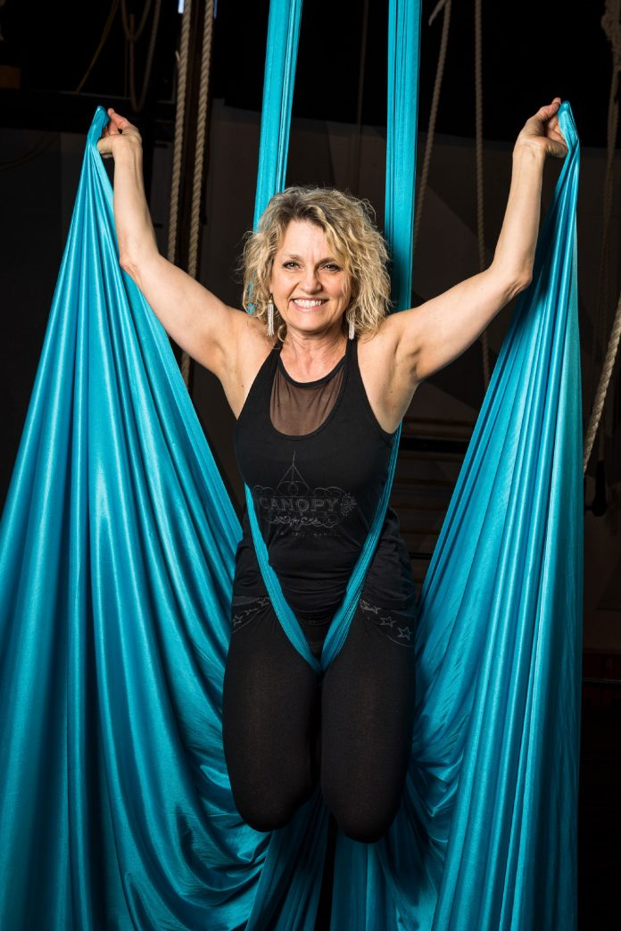 Trapeze Instructor Debra Atwood at Canopy Studio