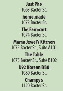 Restaurants on Baxter